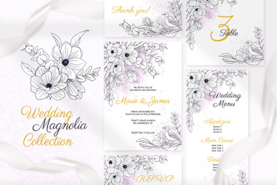 Magnolia Wedding Invitation Cards Floral Printable Templates