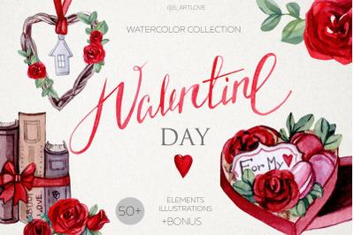 Watercolor VALENTINE LOVE collection