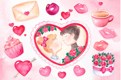 Valentine's day clipart Watercolor Love clipart Heart frame