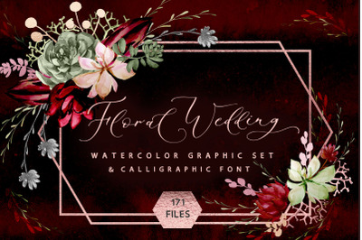 Rustic Floral wedding graphic & font set