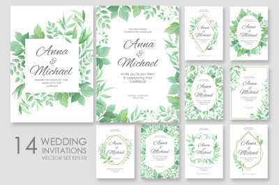 Wedding invitations vector set #2