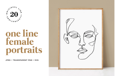 Minimalist One Line Female Portraits