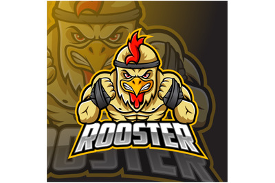 Angry Rooster mascot logo design