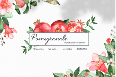 Watercolor pomegranate. Clipart, frames, wreaths, seamless patterns