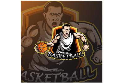 Basketball player sport logo design