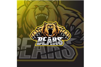 Modern professional angry bears mascot logo design