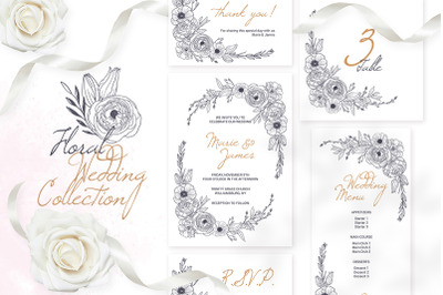 Floral Wedding Invitation Cards Templates Monochrome Graphic