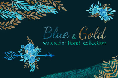 Watercolor blue and gold floral set