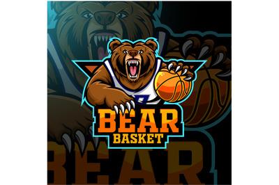 Bear basketball player mascot logo design