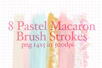8Pastel Macaron Brush Strokes