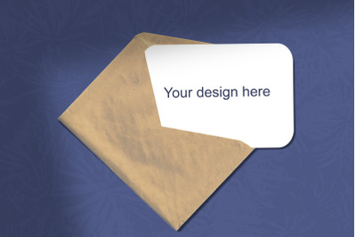 Mockup. A sheet of white paper with an envelope on a blue background.
