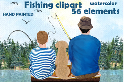 Fishing clipart, BOY FISHING clipart, Father's day clipart
