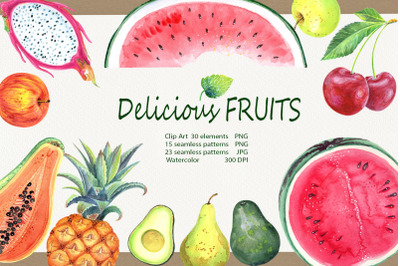 Watercolor Delicious Fruits set
