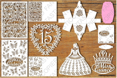 Quinceanera Set SVG files for Silhouette Cameo and Cricut.