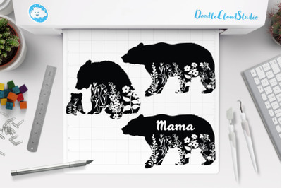 Floral Bear SVG, Floral Baby and Mama Bear SVG Cut Files