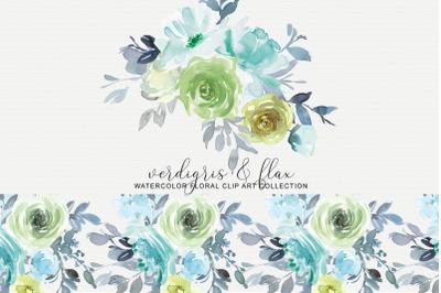 Verdigris & Flax Floral Clipart Watercolor Collection