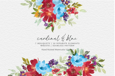 Red & Blue Watercolor Floral Clip Art Collection