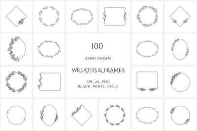 100 Hand Drawn Floral Wreaths and Frames. Set 2