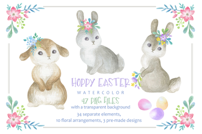 Hoppy Easter. Watercolor clip arts set.