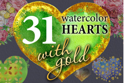 Watercolor gold hearts 2