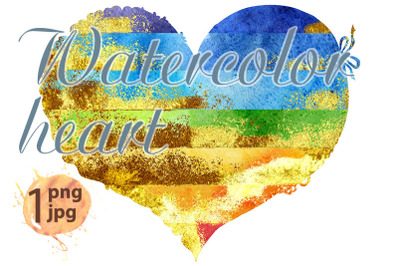 Watercolor textured rainbow heart with gold strokes