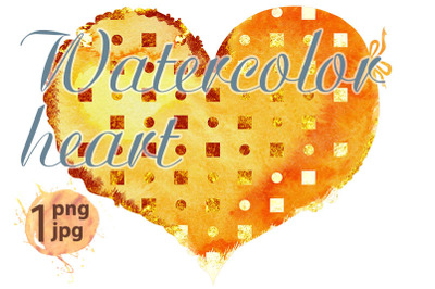 Watercolor yellow heart with gold dots