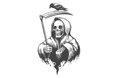 Death with Scythe and Crow