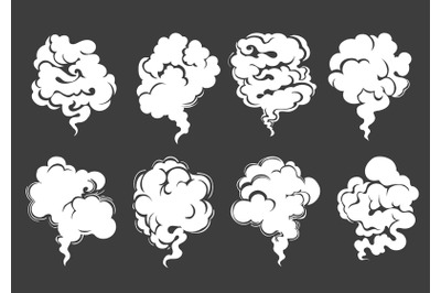 Cartoon White Smoke or Steam Cloud Set on Black Background