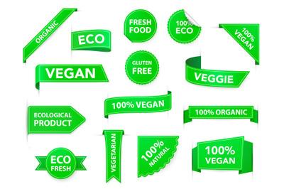 Vegan badges. Eco organic vegetarian tags, vegan health diet labels, v