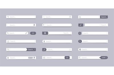 Search bar. Address search field, interface bar ui navigation, web con