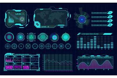 Futuristic hologram ui. Infographic graph interface, virtual hud frame