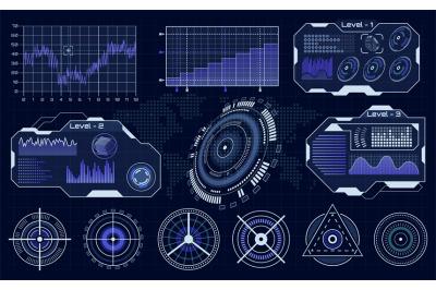 Futuristic hud interface. Technological hud hologram, loading diagnost