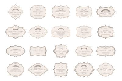 Vintage tag labels. Ornamental retro badges, decorative frame shapes a