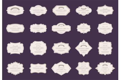 Retro elegant labels. Vintage ornamental shapes, royal label decorativ