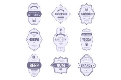 Alcohol bottle labels. Traditional alcohol labels, vintage bourbon and
