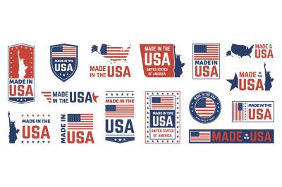 Made in USA label. American flag emblem, patriot proud nation labels i