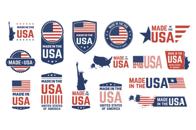 Made in USA badges. Patriot proud label stamp, American flag and natio