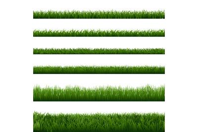 Realistic grass borders. Green garden herb plants, landscape fresh law