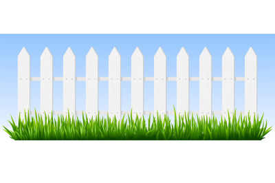 Realistic wooden fence. Green grass on white wooden picket fence, suns