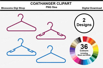 Coathanger Sticker Clipart, 72 files, multi colours