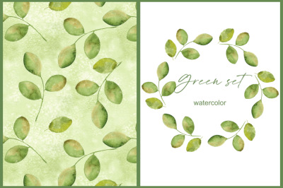 Green simple set. Wreath and pattern