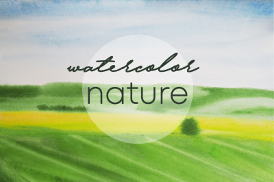 watercolor landscape spring and summer field