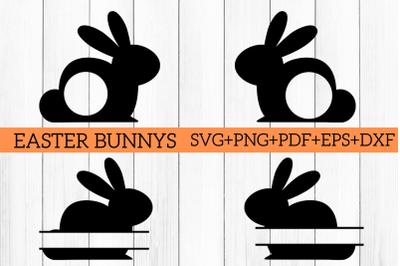 Easter Bunny Split & Monogram Cut Files SVG PNG PDF EPS DXF