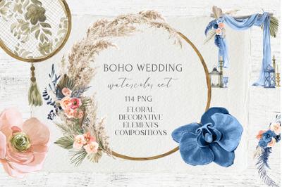 Boho Wedding Decor Watercolor Set