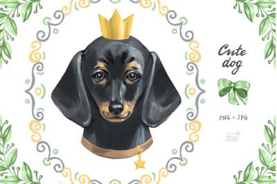 Cute dog dachshund clipart