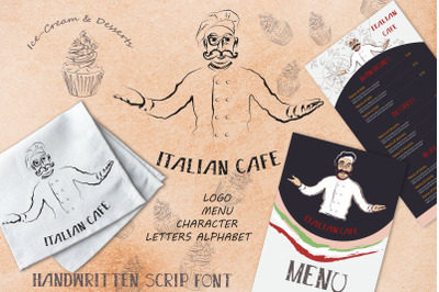 Italian cafe, vector cafe label, menu, character design