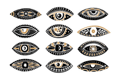 Eyes set hand drawn
