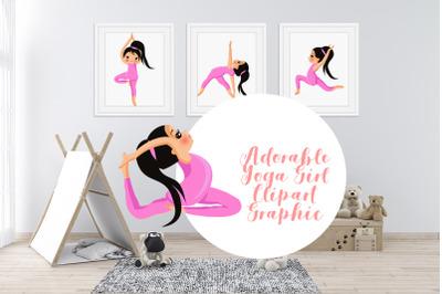 Adorable Yoga Girl Clipart Graphic