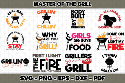 Master of The Grill SVG Cut Files Bundle - 12 Designs Included
