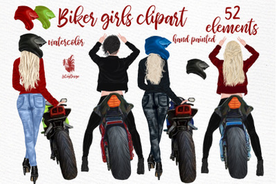 Biker Girls Clipart, FEMALE RIDING BIKE, Bikers Girls